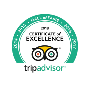 2018 Hall of Fame Tripadvisor, Certificate of Excellence